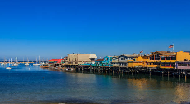 Old Fisherman's Wharf in Monterey, California, a famous tourist attraction stock photo
