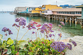 Stock photograph of the Old Fisherman's Wharf in Monterey, California, USA. Old Fisherman's Wharf is a shopping, dining and entertainment area located at the waterfront of Monterey.