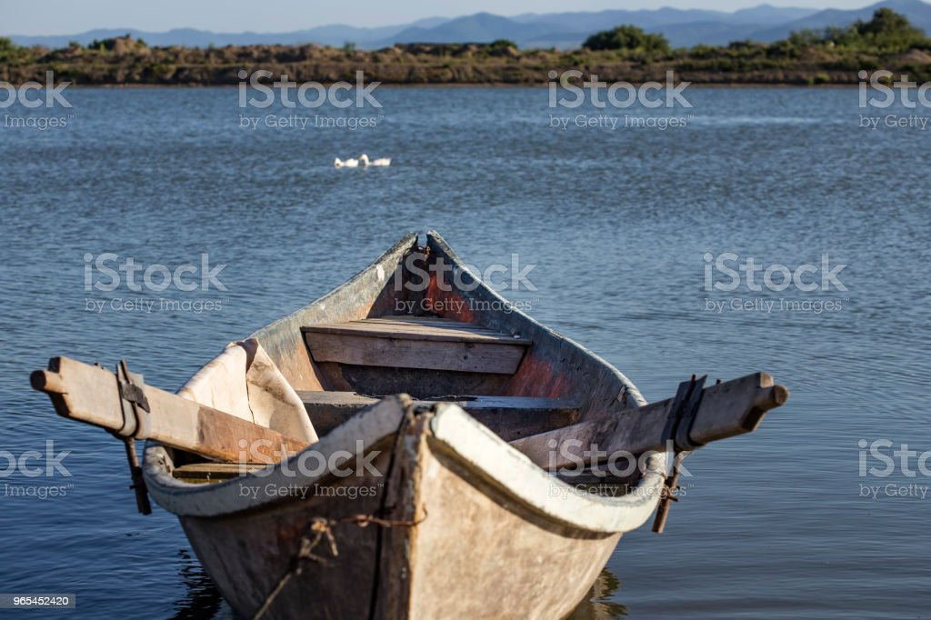 Old fishing boat and some geese in background in Romania royalty-free stock photo