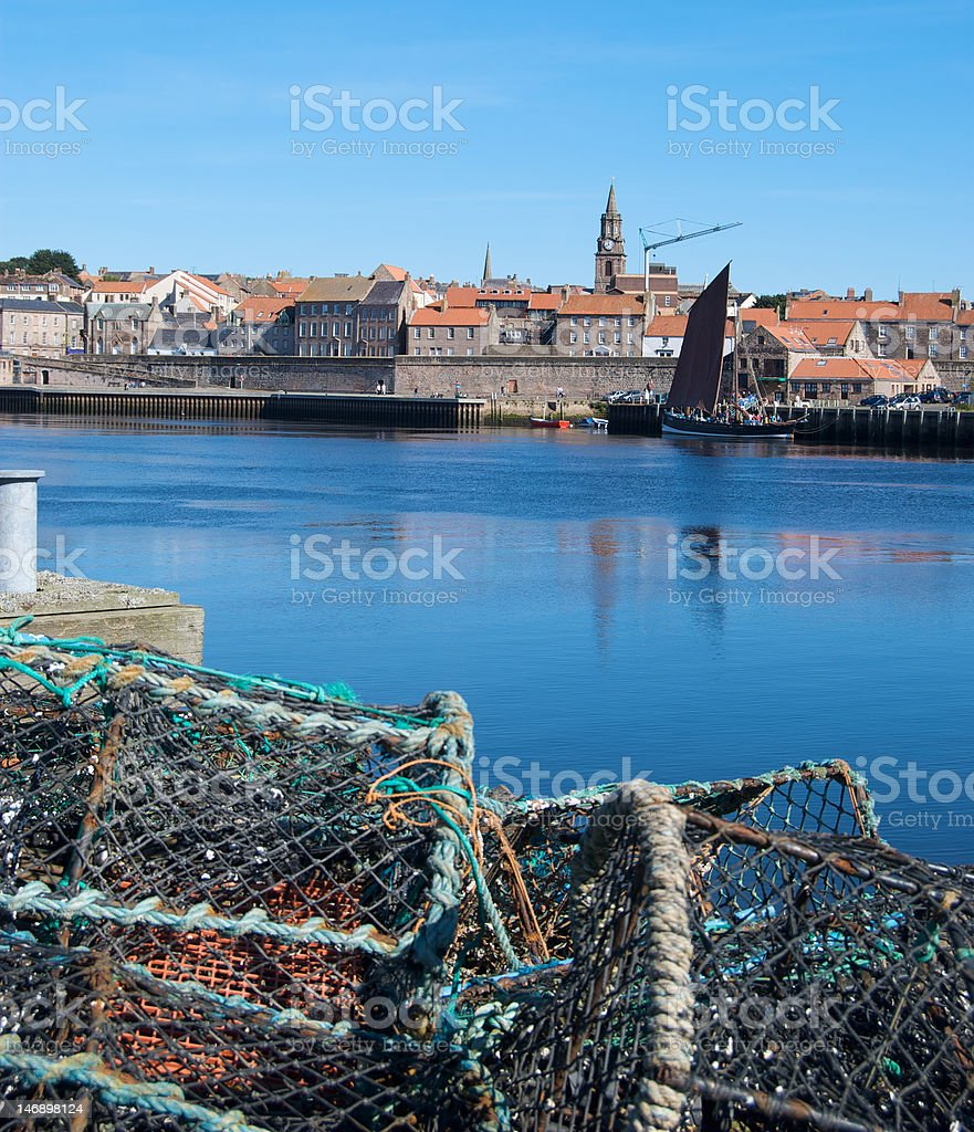 Old fishing boat, Berwick-upon-Tweed, Fish Quay stock photo