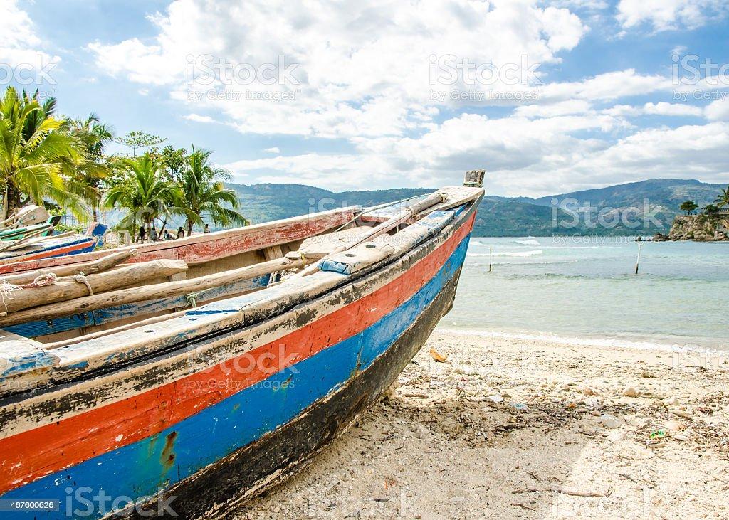 Old Fishing Boat, Jacmel, Haiti stock photo