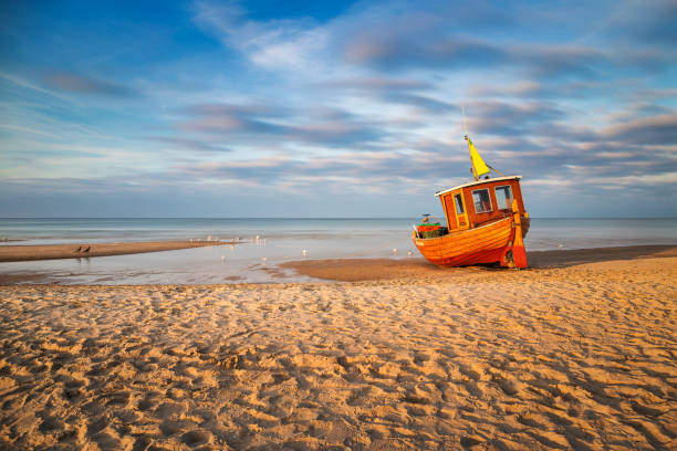 Old fishing boat on Usedom stock photo