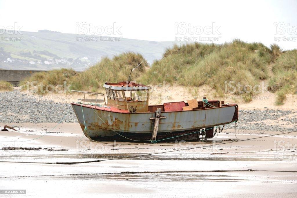 Old fishing boat. stock photo
