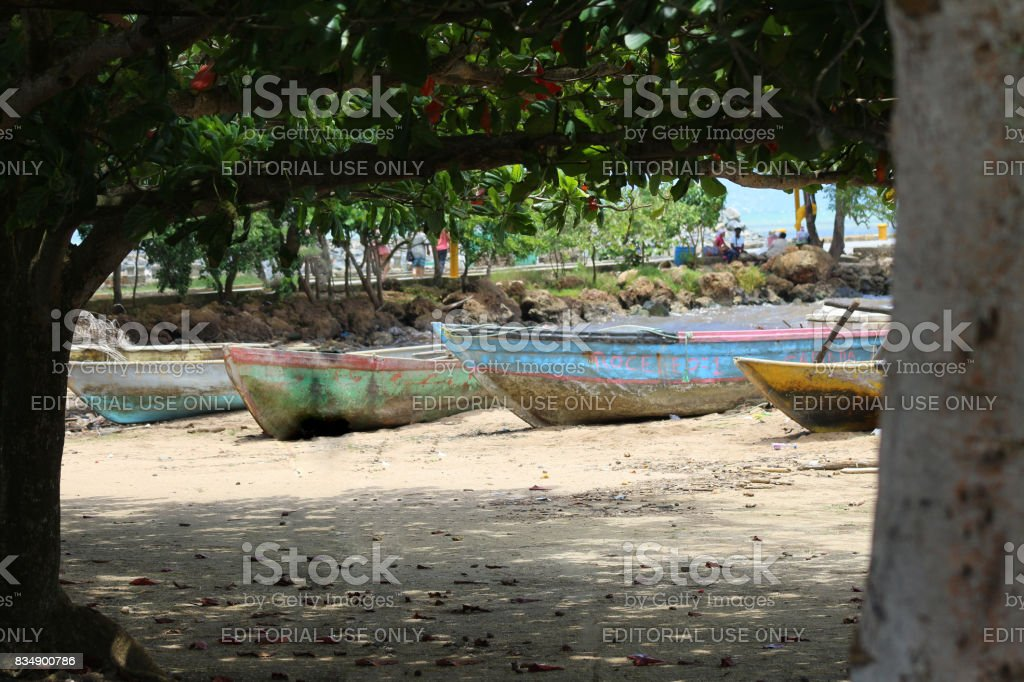 Old fishing boats stock photo