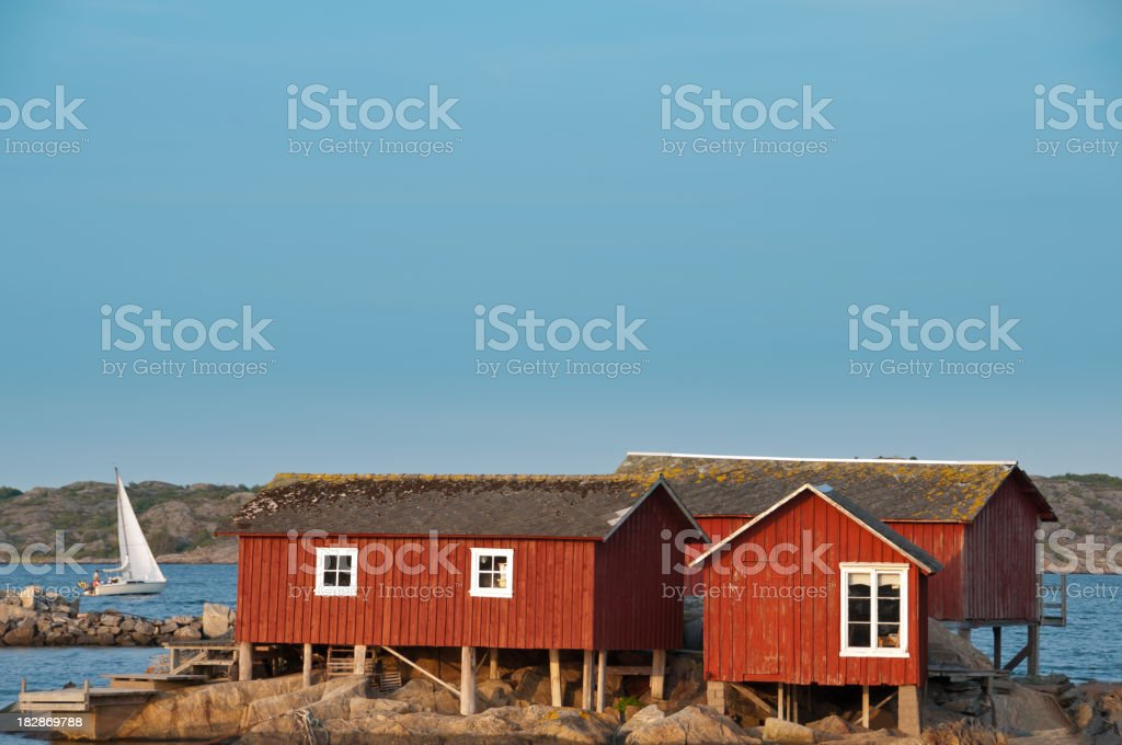Old fishing cabins built on poles royalty-free stock photo