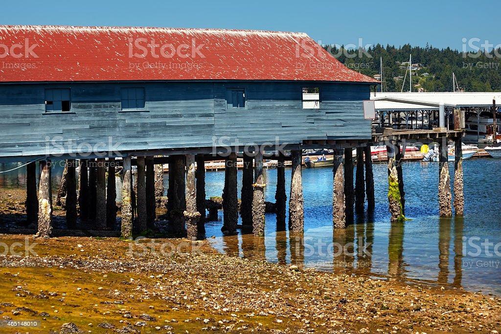 Old Fishing Dock Low Tide Gig Harbor Washington State stock photo