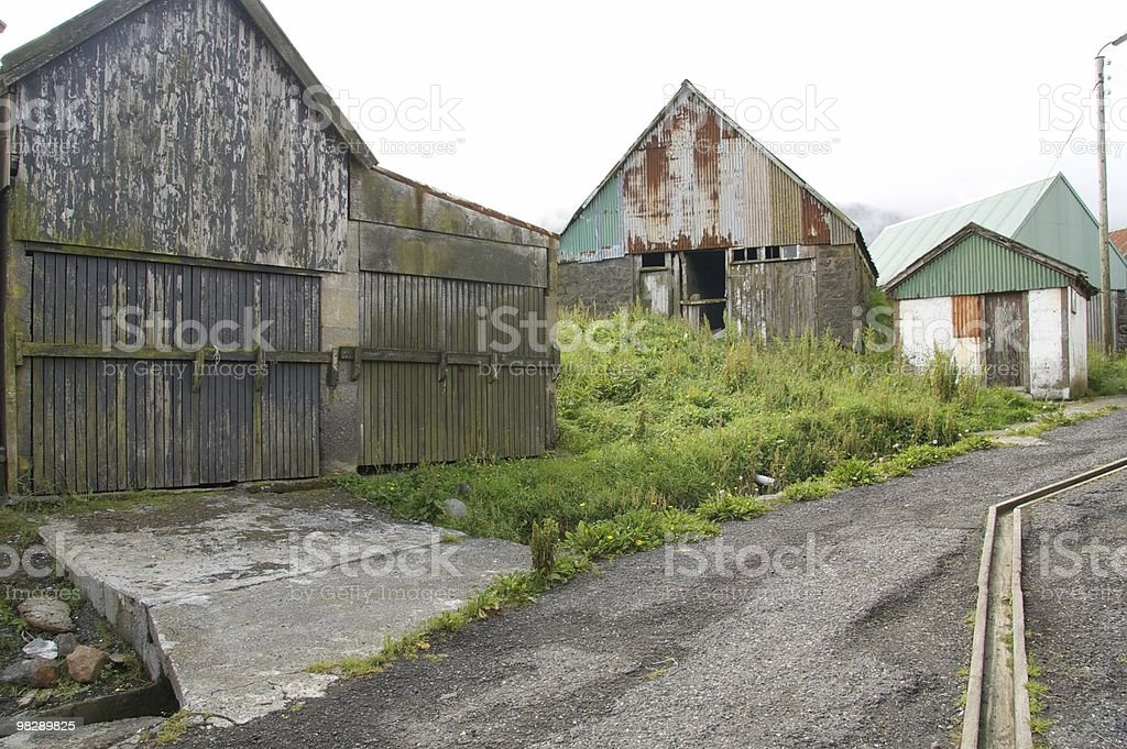 Old fishing sheds on Svinoy in the Faroe Islands royalty-free stock photo