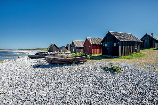 Old fishing village in the Baltic sea stock photo