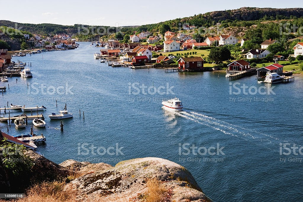 Old fishing village stock photo