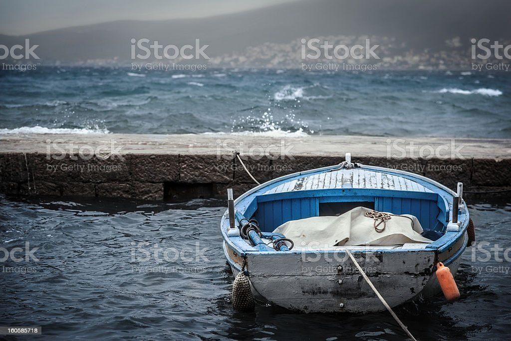 Old Fishing Wooden Boat stock photo