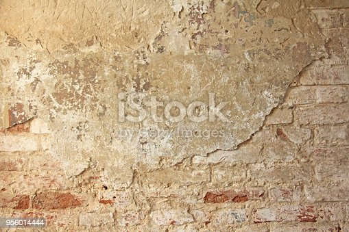 Old Flaky White Paint Peeling Off A Grungy Cracked Wall Cracks ...