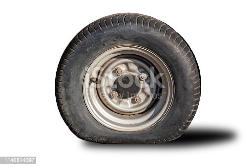 Old flat tire tires that separated from the clipingpart white background