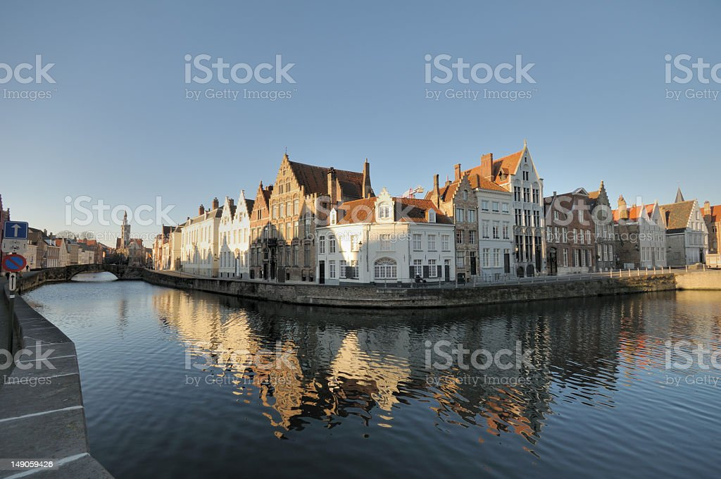 Old Flemish Houses on Canal royalty-free stock photo