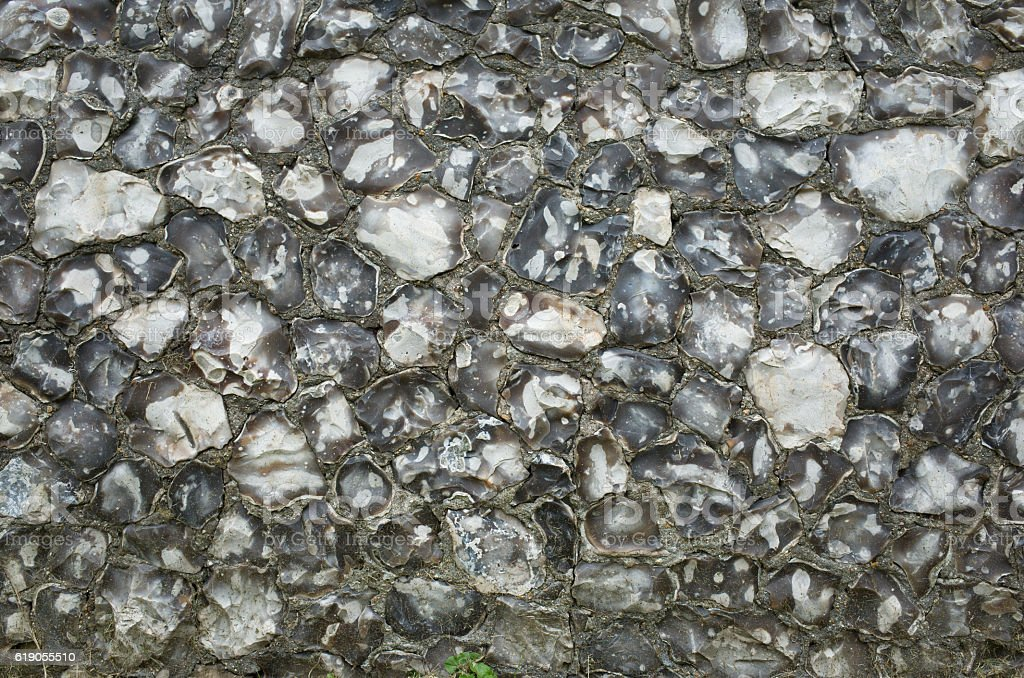 Old Flint Wall Background Texture stock photo