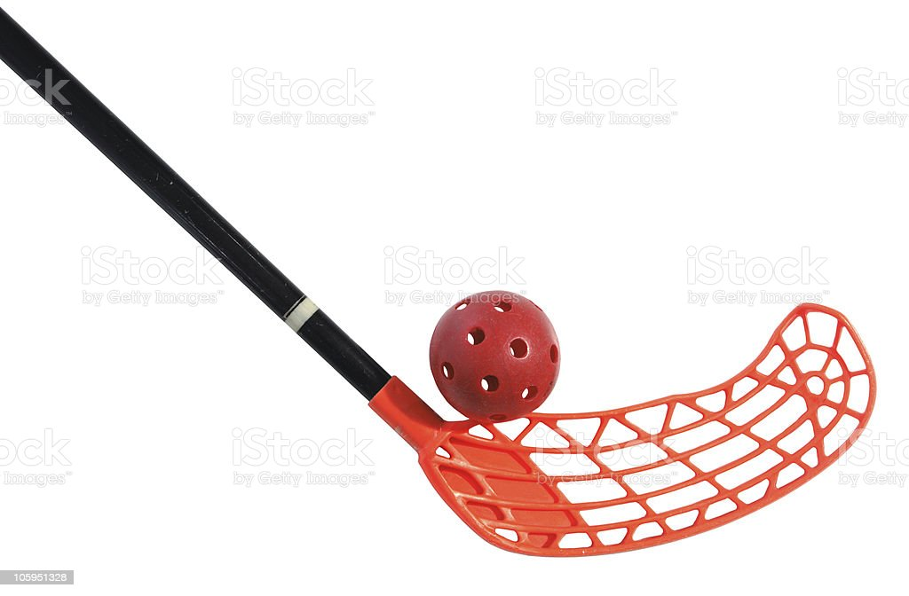 old floorball stick and ball stock photo