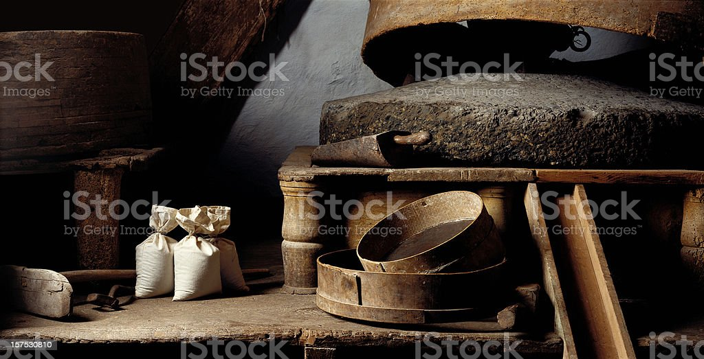 Old flour mill stock photo