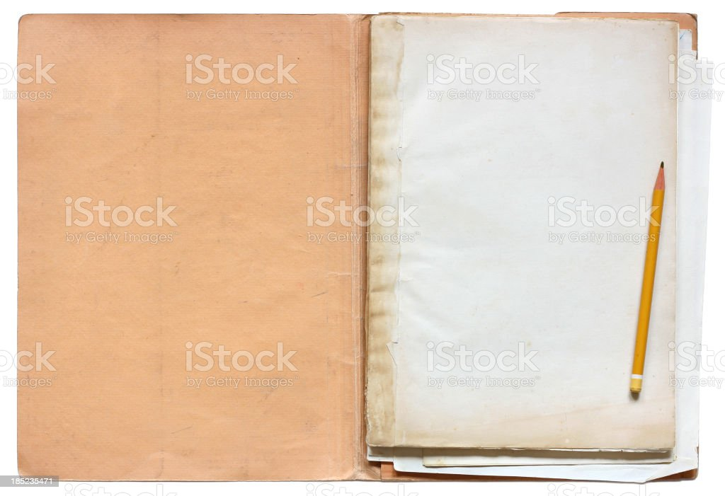 Old folder with papers royalty-free stock photo