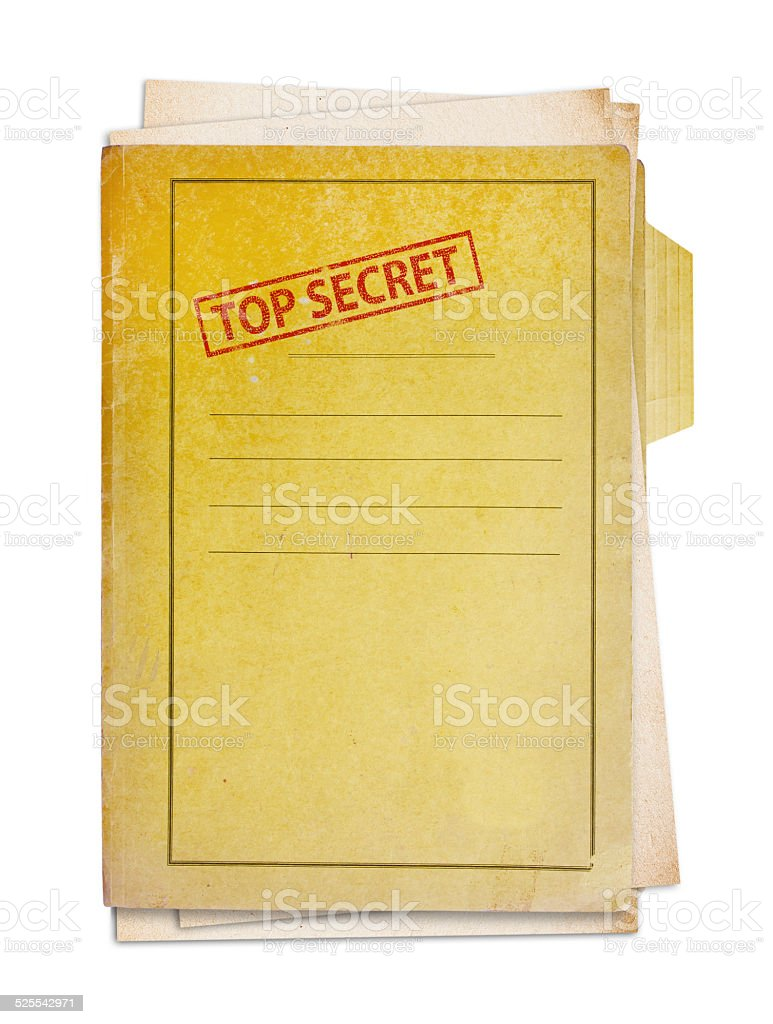 Old folder with top secret stamp. stock photo