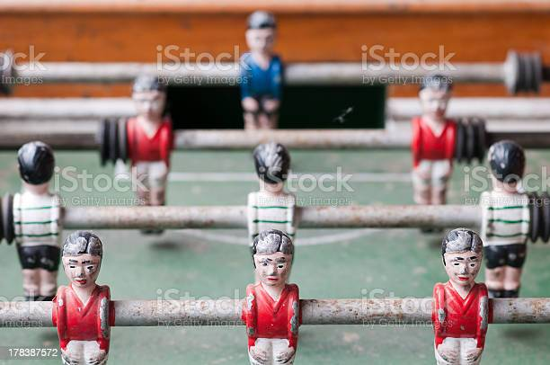 Old Foosball Table Stock Photo - Download Image Now
