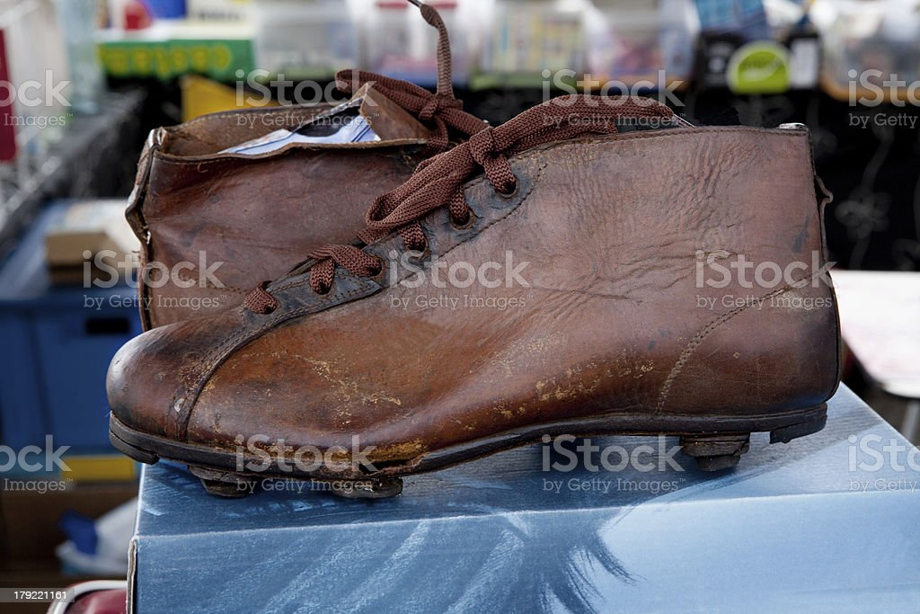 Old Football Boots. royalty-free stock photo