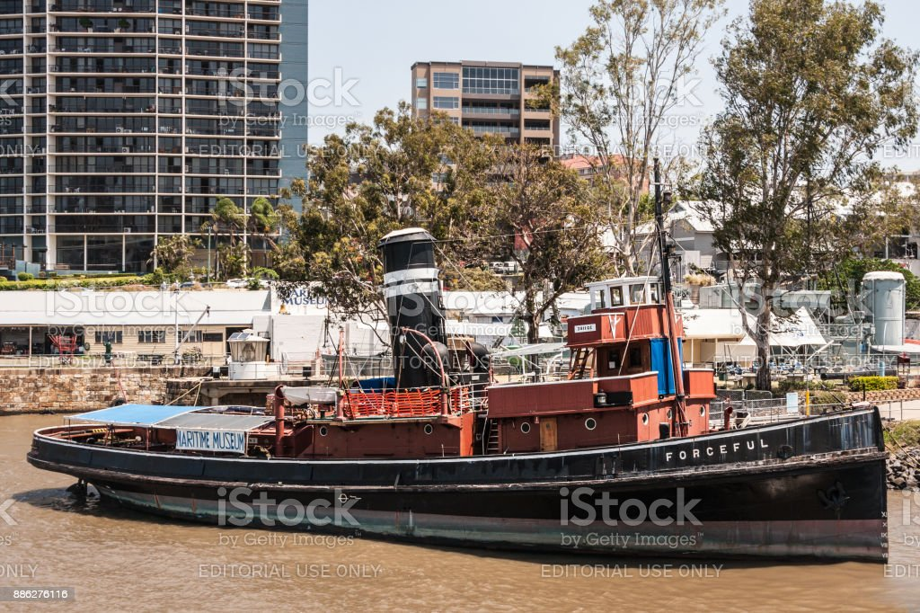 Old Forceful steamboat at maritime museum, Brisbane Australia. stock photo