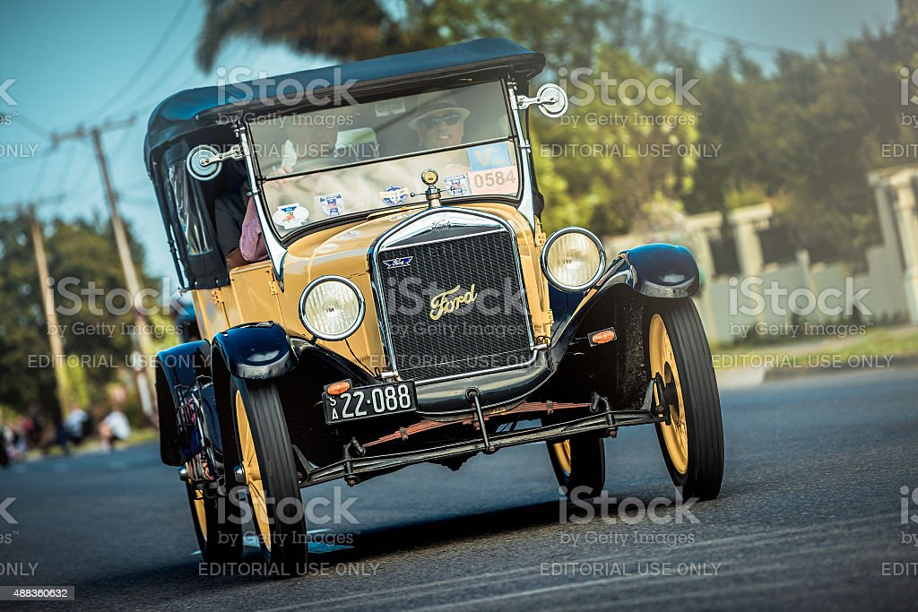 Old Ford T on the road stock photo