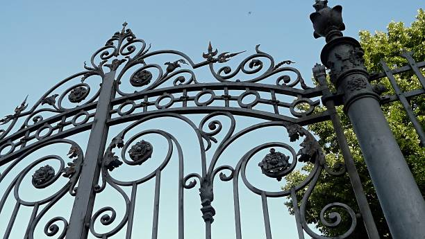 Old forged iron gate stock photo