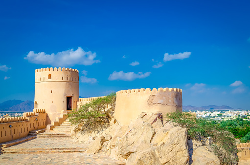 Old fort, an oasis and blue sky.
