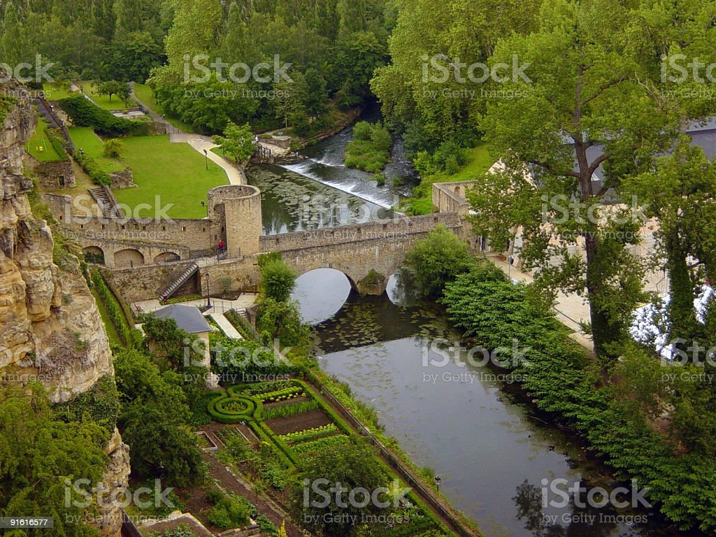 Old fortification in Luxembourg royalty-free stock photo