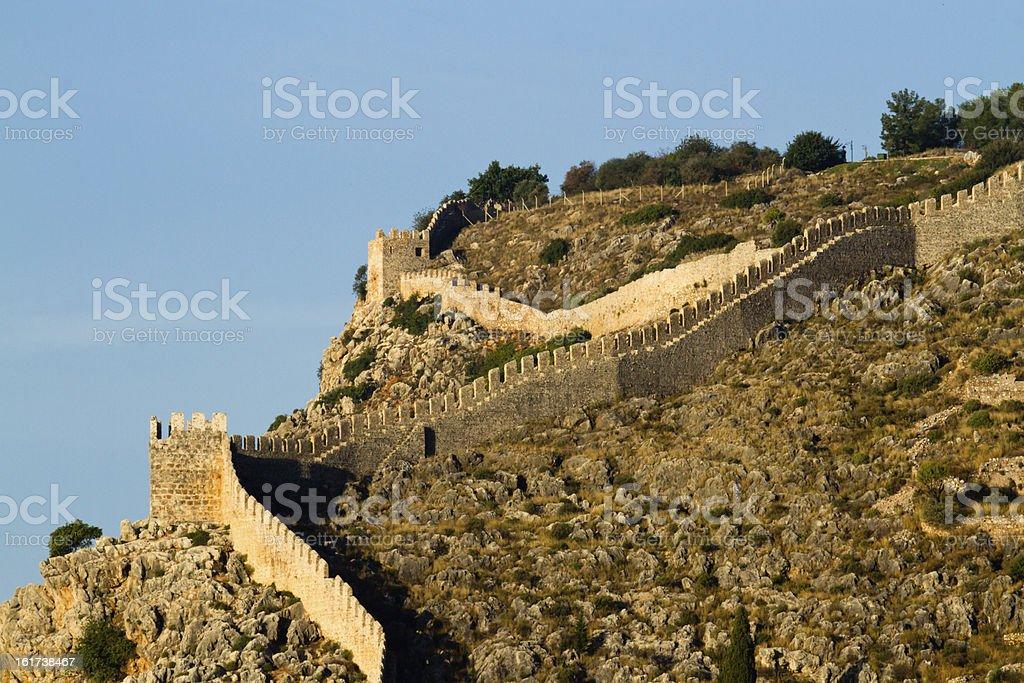 Old fortified walls of Alanya Turkey stok fotoğrafı
