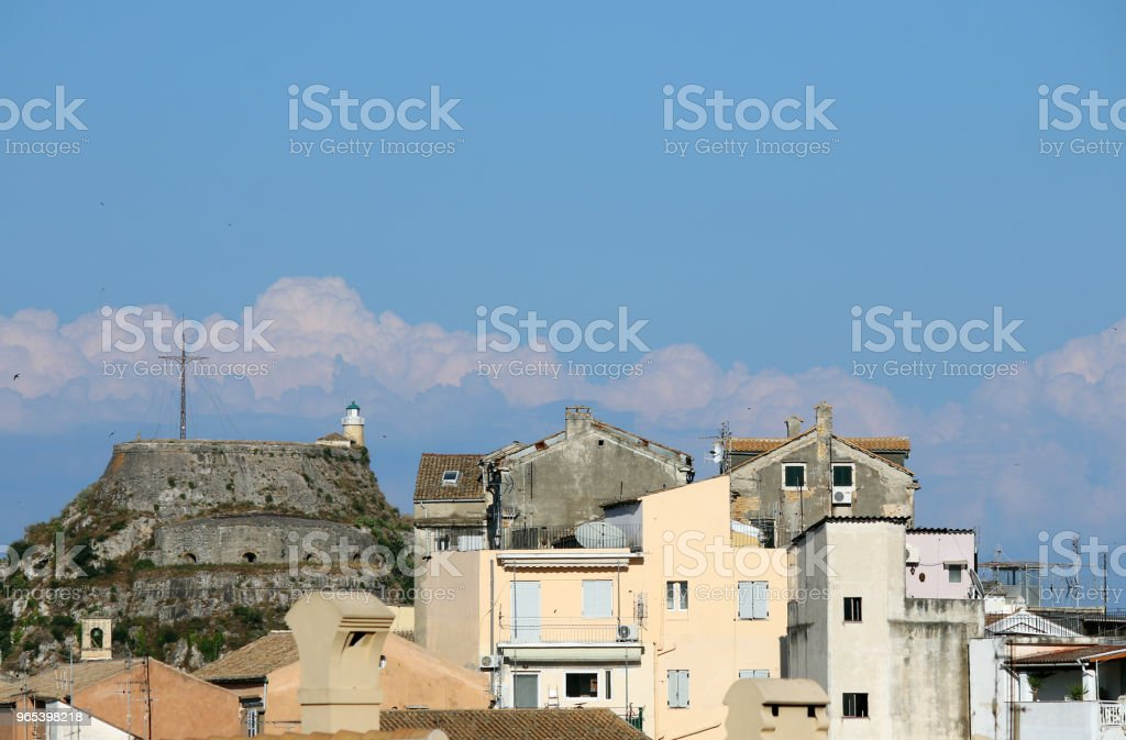 Old fortress and buildings Corfu town cityscape Greece zbiór zdjęć royalty-free