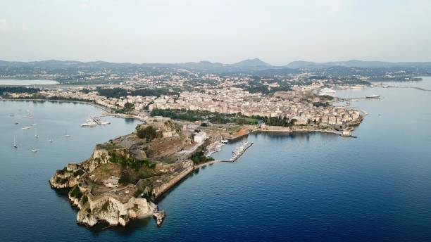 Old Fortress and Corfu City stock photo