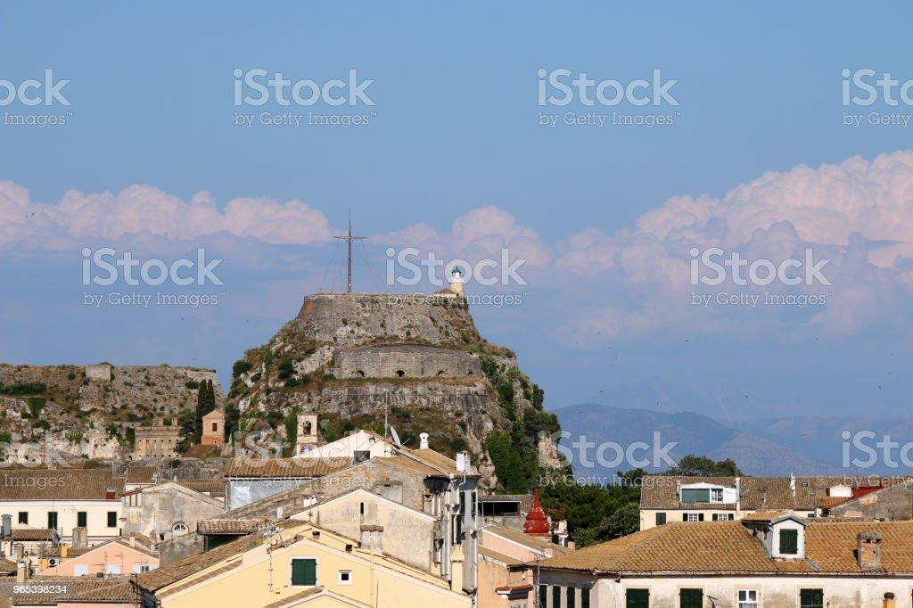 Old fortress Corfu town cityscape Greece zbiór zdjęć royalty-free