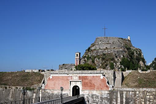 오래 된 요새 입구 코르푸 그리스 0명에 대한 스톡 사진 및 기타 이미지