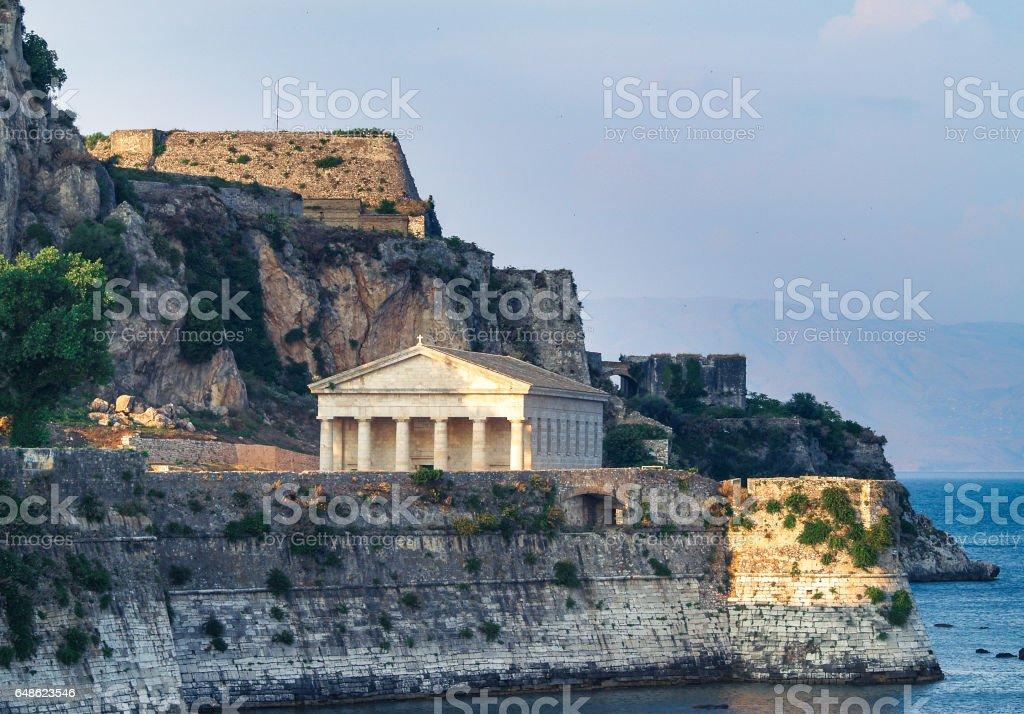 Old Fortress in Corfu Island with church of Agios Georgios, Greece stock photo