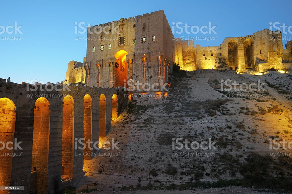 Old fortress of Aleppo, Syria stock photo
