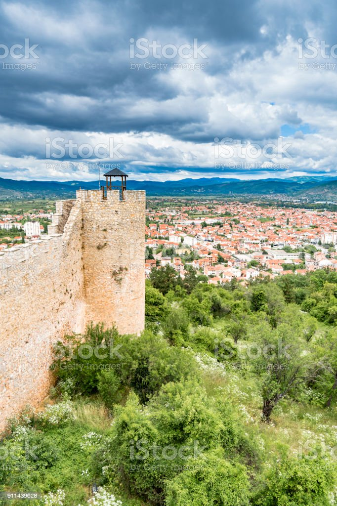 Old fortress ruins of tzar Samuel in Ohrid in a beautiful summer day, Republic of Macedonia, vertical stock photo