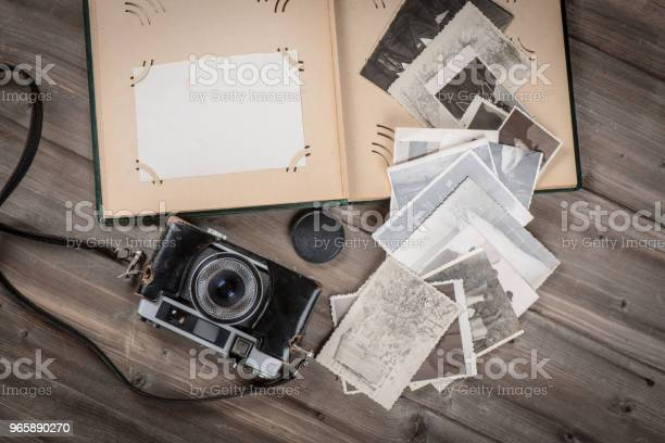Old Foto Album With Photos And Cam Stock Photo - Download Image Now
