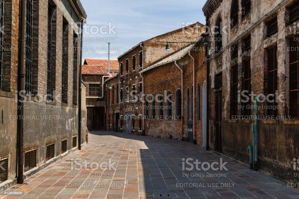 Venezia, Italy - june 2015: Old Foundry Buildings Exterior in Murano Street Isle near Venice, Italy stock photo