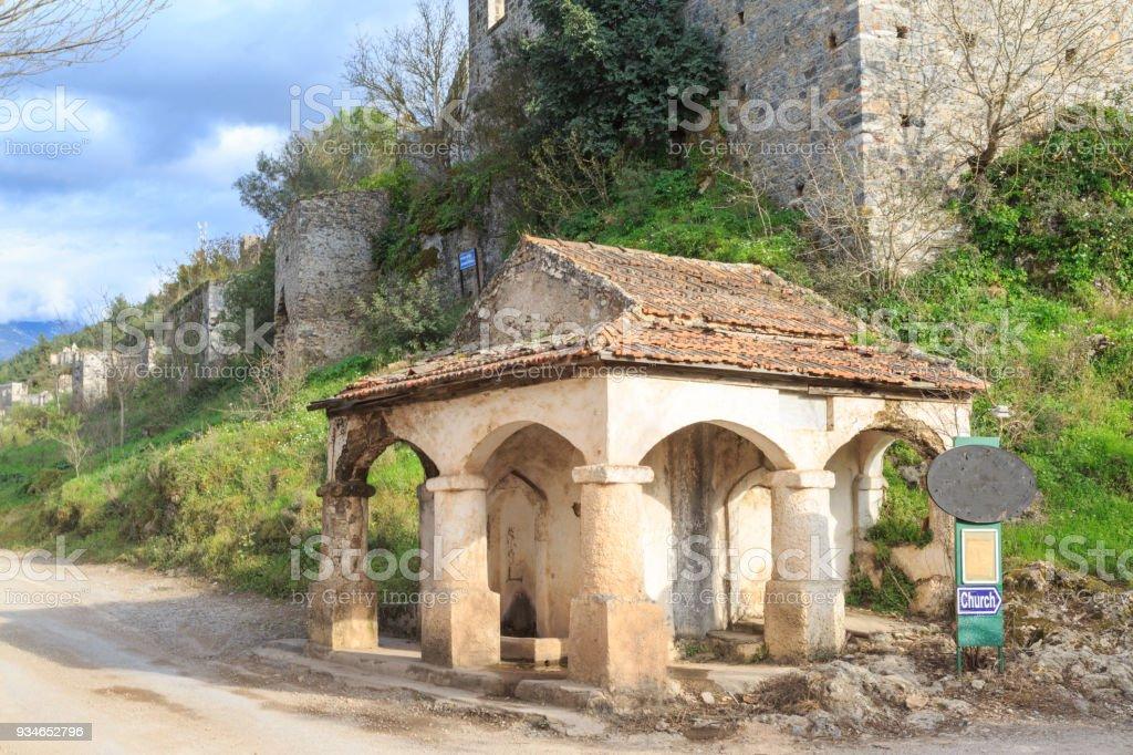 Old fountain in Kayakoy (karmylassos) old greek village in fethiye, Turkey stock photo