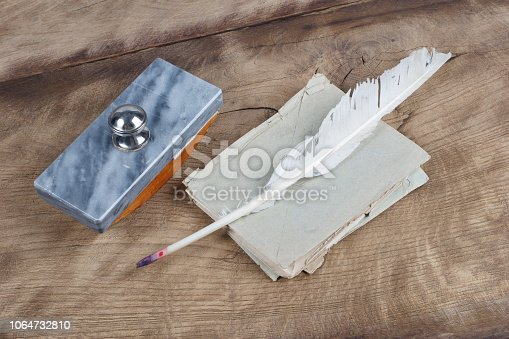 179239584 istock photo Old fountain pen and inkwell with old letters on a wooden background 1064732810