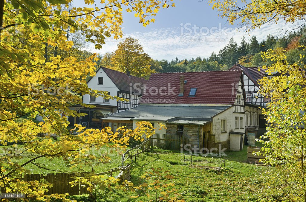 Old framehouse in autumn - Muhltal royalty-free stock photo
