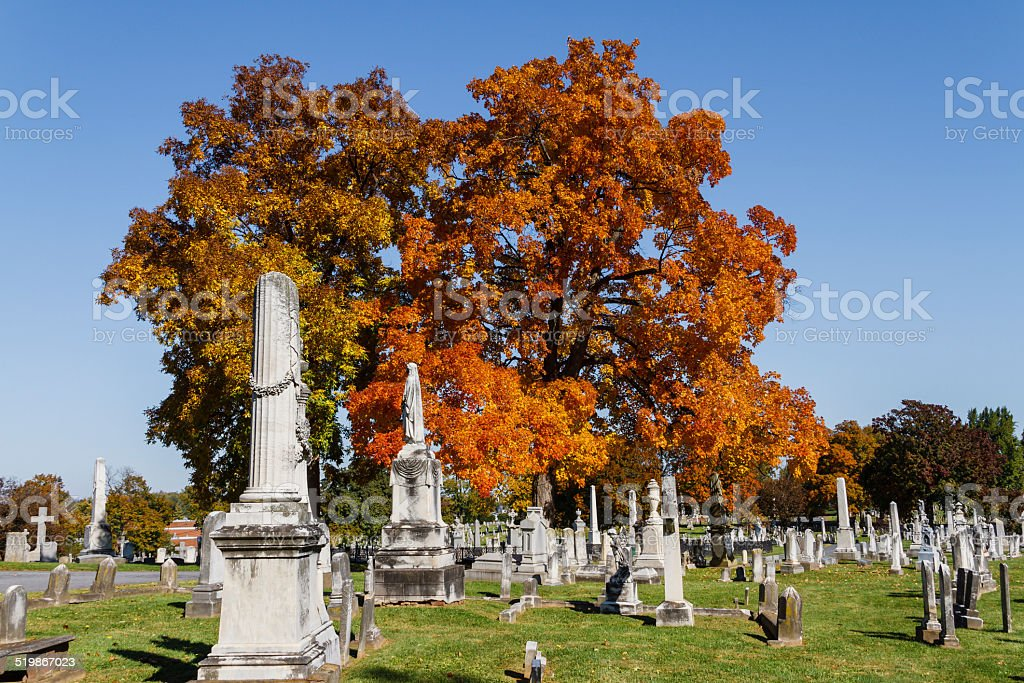 Old Frederick Maryland Graveyard On a Crisp Autumn Day stock photo
