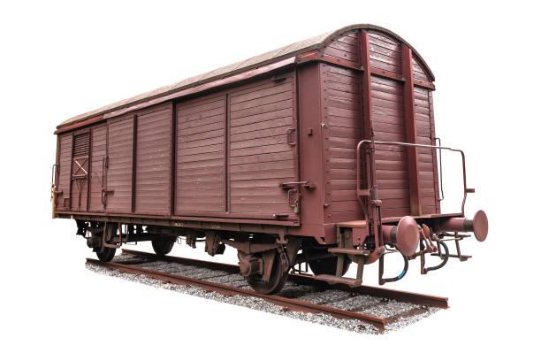 old freight wagon on white stock photo