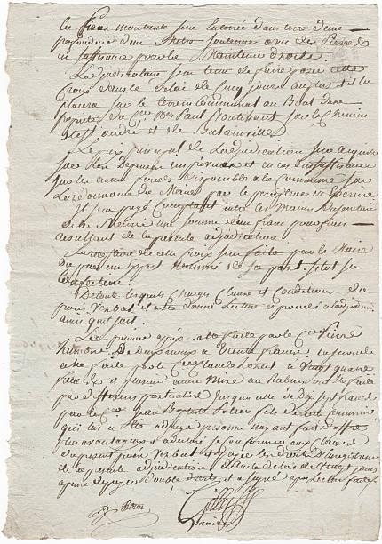 Old French 1819 handgeschriebene Dokument mit alten Stil Schreiben – Foto