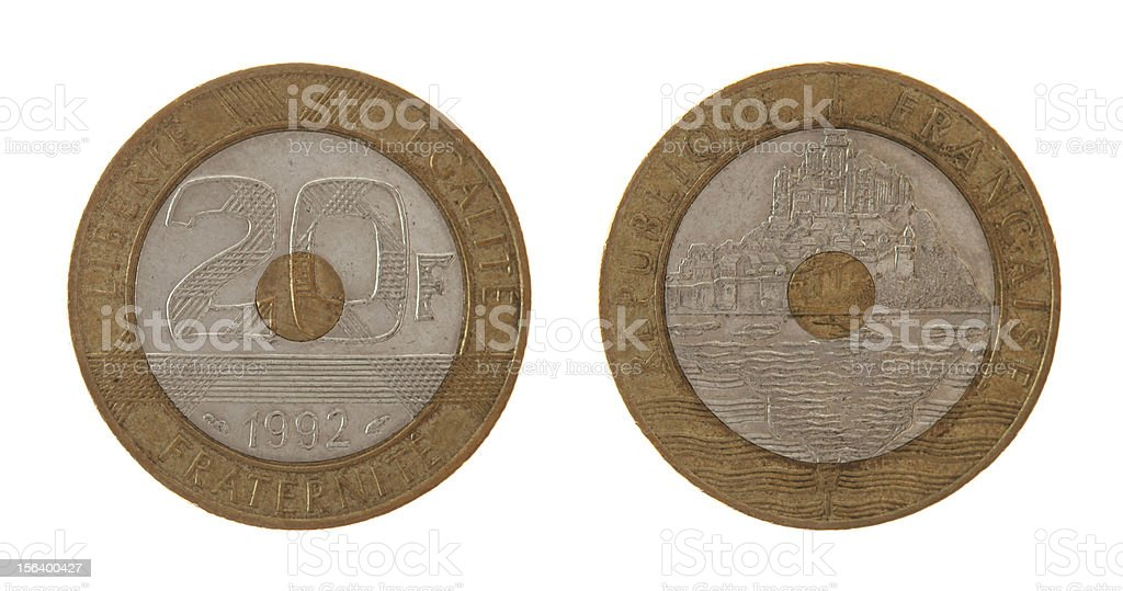 Old French Coin Isolated on White royalty-free stock photo