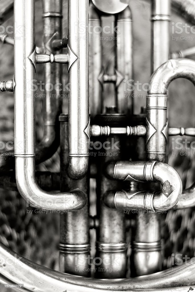 Old French horn detail royalty-free stock photo