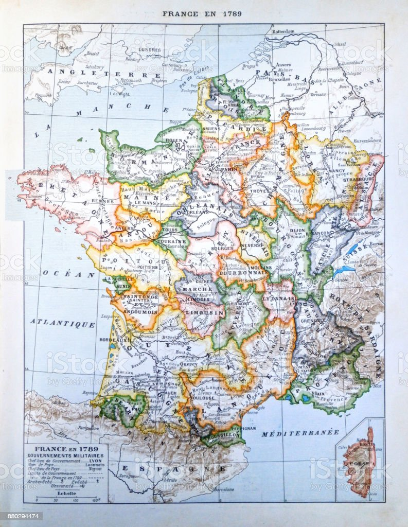 Map Of France In 1789.Old French Map In 1789 Stock Photo More Pictures Of 19th Century