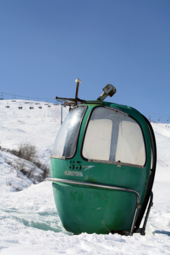 istock old french Poma ski lift bubble car, Le Corbier 105771832