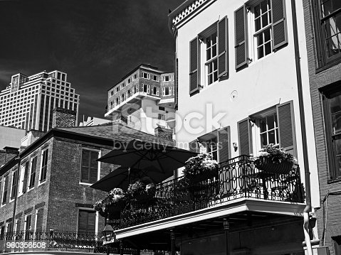 New Orleans, LA USA - May 9, 2018  -  Old French Quarter Buildings with the CBD in Background #2 B&W